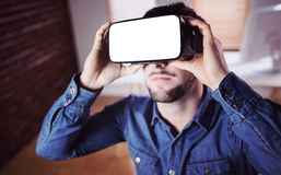 Man wearing virtual glass Stock Image