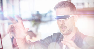 Man wearing virtual glass in office stock illustration