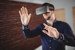 Man wearing virtual glass. While taking break in office royalty free stock photography