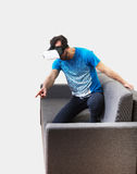 Man wearing virtual reality 3D glasses Royalty Free Stock Images