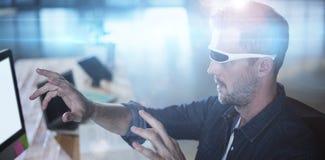 Man wearing virtual reality glass royalty free stock photography