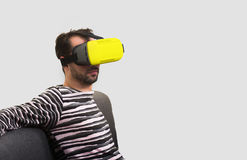 Man wearing virtual reality glasses Stock Photography