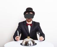 Man wearing virtual reality glasses. Virtual dinner concept. Man wearing virtual reality glasses Stock Photos