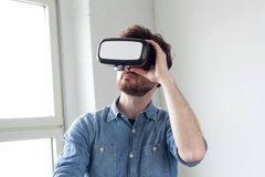Man wearing virtual reality goggles Stock Photo