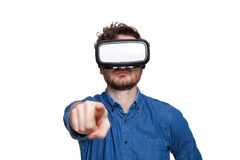 Man wearing virtual reality goggles Stock Photography