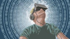 Man wearing virtual reality goggles looking towards sky. Royalty Free Stock Photo
