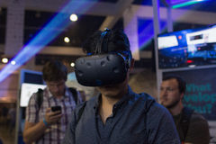 Man wearing virtual reality goggles during VRLA Expo Summer Stock Image