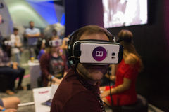 Man wearing virtual reality goggles during VRLA Expo Summer Royalty Free Stock Photos
