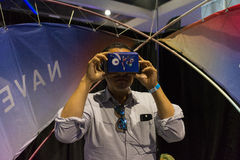Man wearing virtual reality goggles during VRLA Expo Summer Royalty Free Stock Image
