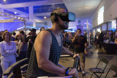 Man wearing virtual reality goggles during VRLA Expo Summer Stock Images