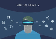 Man Wearing Virtual Reality Headset royalty free stock photography