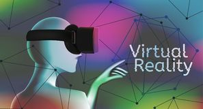 Man wearing a virtual reality headset. Vr concept with text and geometric figure. Man wearing a virtual reality headset and pointing with his hand at text. Vr Royalty Free Stock Images