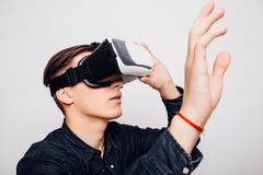 Man wearing virtual reality  VR headset  for box Stock Photos