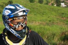 Man Wearing White Blue and Black Motorcycle Helmet during Daytime Royalty Free Stock Photos
