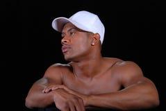 Man wearing white cap. Royalty Free Stock Photos