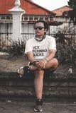 Man Wearing White Crew Neck Shirt stock photo