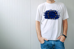 Man wearing white shirt with EU flag print Royalty Free Stock Photo