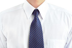 A man wearing white shirt and tie Stock Photos