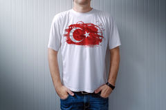 Man wearing white shirt with Turkey flag print Stock Photography