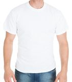 Man wearing white tshirt Stock Photo