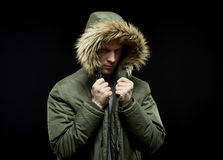 Man wearing winter coat Stock Photo