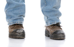 Man wearing workboots Royalty Free Stock Images