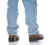 Man wearing workboots Stock Images