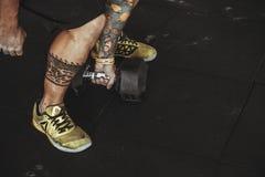 Man Wearing Yellow Running Shoes Royalty Free Stock Image