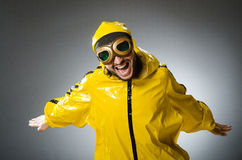 Man wearing yellow suit and aviator glasses. The man wearing yellow suit and aviator glasses Royalty Free Stock Photos