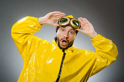Man wearing yellow suit and aviator glasses. The man wearing yellow suit and aviator glasses Royalty Free Stock Photography