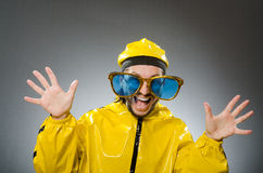 The man wearing yellow suit in funny concept Royalty Free Stock Photography
