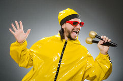 Man wearing yellow suit Stock Photography