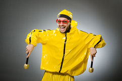 Man wearing yellow suit with mic Royalty Free Stock Image