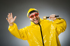 Man wearing yellow suit with mic Royalty Free Stock Photo