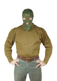 Man wears green camouflage mask Stock Photography
