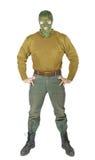 Man wears green uniform of the guard Stock Photo