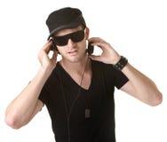 Man Wears Headphones Stock Photo