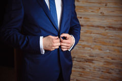 Man wears a jacket. concept of business dress Stock Image