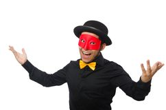 A man wears red mask isolated on the white Royalty Free Stock Photo