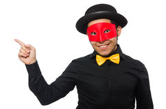 A man wears red mask  on white Stock Photos