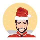 Man Wears Santa Claus Hat 2 Stock Photo