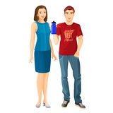 Man wears t-shirt and jeans, woman in dress vector vector illustration
