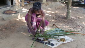 Man weaves a mat from palm leaves. SriLanka. Man weaves a mat from palm leaves stock video footage