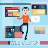 Man Web Designer Graphic Design Background. Flat Vector Illustration Stock Photo