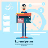 Man Web Designer Graphic Design Background stock illustration