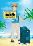 Man with website under construction text message Royalty Free Stock Images