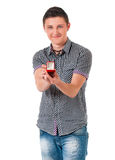 Man with wedding ring. Happy young man holding box with wedding ring, isolated on white background Stock Image