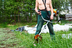 Man with weed trimmer Royalty Free Stock Image