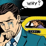 Man weeps his woman is leaving by taxi Royalty Free Stock Images
