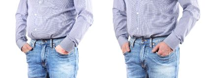 Man with overweight. Before and after weigh loss. Man Before and after weigh loss. Overweight fat belly stock images